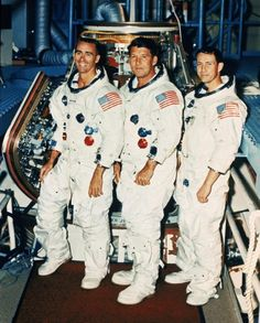 Space Frontier Apollo 7 crew are shown at the Kennedy Space Center in Cape Canaveral, Fla., in this Oct. From left to right are R. Space And Astronomy, Nasa Space, Apollo Spacecraft, Apollo Space Program, Space Hero, Apollo 1, Engineering Programs, Apollo Missions, Kennedy Space Center