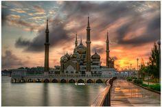 Crystal Mosque or Masjid Kristal (Kuala Terengganu) is located at Islamic Heritage Park on the island of Wan Man.