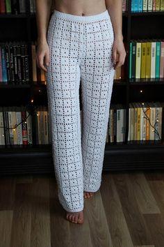 New Crochet Clothes Shorts 28 Ideas Crochet Pants, Knit Pants, Trouser Pants, Crochet Clothes, Pajama Pants, Long Pants, Wide Leg Pants, Mode Crochet, Cotton Crochet