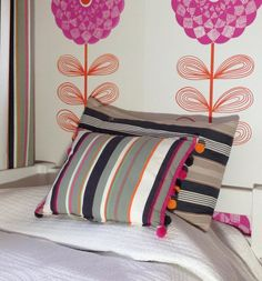 Homemade striped cushion in 'Darts' Interior Fabric with matching Darts Bobble Pom Pom Trim... by beautiful local Cheshire wallpaper designer Sharon Jane #Wallpaper www.sharonjane.co.uk - #sharonjanewallpaper