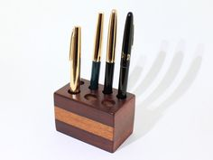 Pen Holder for Desk Jarrah and Jatoba Wood Fountain by BearLodge