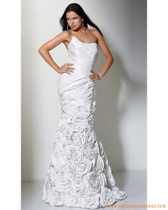 Strapless Mermaid White Taffeta Handmade Flower Wedding Dres...