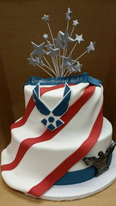 Military Promotion cake, 2 tiers, stars and stripes. Air Force wings, flag, Old Glory, American pride, patriotic, colonel.