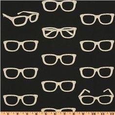 Echino Nico Cotton/Linen Blend Canvas Glasses Black $19.98/ yd