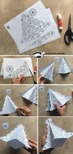 children activities, more than 2000 coloring pages Christmas Tree Crafts, Noel Christmas, Xmas Tree, Handmade Christmas, Christmas Decorations, Christmas Ornaments, Crafts To Do, Crafts For Kids, 3d Craft