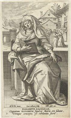 Jan Collaert (II)   Heilige Elisabet, Jan Collaert (II), Philips Galle, Cornelis Kiliaan, 1595 - 1599   Op de voorgrond de Elisabet, moeder van Johannes de Doper, lezend op een stoel. Op de achtergrond de ontmoeting tussen Elisabet en Maria. De prent heeft een Latijns onderschrift en maakt deel uit van een prentserie met beroemde vrouwen uit het Nieuwe Testament.