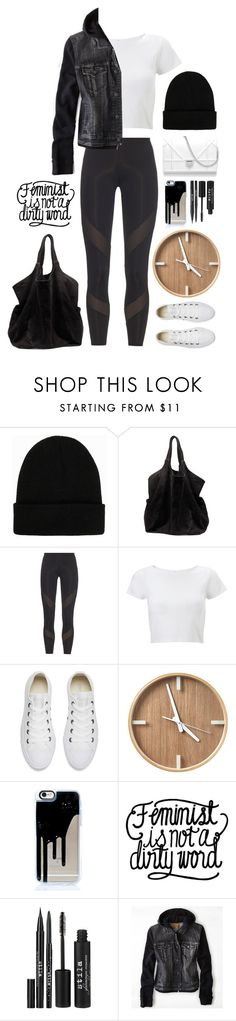 """Hours in the Studio"" by la-floraison ❤ liked on Polyvore featuring NLY Accessories, Ganni, adidas, Lipsy, Converse, Stila and American Eagle Outfitters"