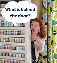 Paint Shelf Door --- Hide that ironing board!!!