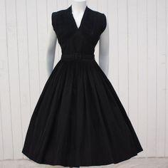 Vintage 1950's Dress  Black Taffeta  New Look by fancypantsvintage, $280.00