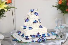 Wedding Cake with Blue Dendrobium Orchids