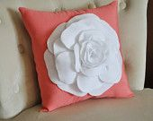 White Rose on Coral Pillow