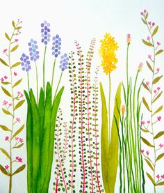SALE-colorful garden original watercolor by zuhalkanar on Etsy