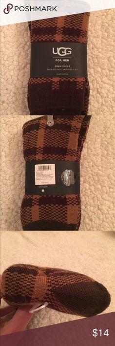 """NWT Ugg brown crew socks NWT UGG Men's Plaid Socks  Color: Chestnut Plaid (brown,maroon,green)  Sock Size: 10-13  Fits shoe size: 8-12.5  9"""" Plaid jacquard crew sock  Socks are NWT =Half folded with hanger and belly band  88% Acrylic, 11% Polyester, 1% Spandex  Retail: 19.50  Smoke free home  A plaid pattern lends traditional appeal to these classic crew socks. Soft and comfortable, they slide easily into your loafers, boots, and sneakers. UGG Underwear & Socks Casual Socks"""