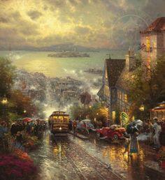 Thomas Kinkade - San Francisco, Hyde Street and the Bay - San Francisco, California (1996)