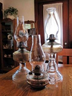 Nice collection of oil lamps.