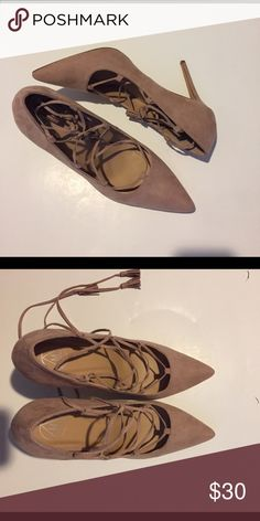 Missguided Strappy Shoes - Brand New Missguided strappy shoes tie up around the ankle with tassles on the end of the ties. Color Blush. Size 10 US. New never worn.  The first picture is similar to the shoes but not exact. Pictures 2-3 are of the actual shoes. Missguided Shoes Heels