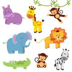 Een vrolijk stickervel met acht safaridieren. Zo vrolijk je de kinderkamer snel op.