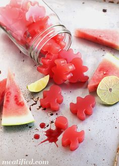 Sour Watermelon Homemade Gummies (go easy with these, watermelon contains lots of sugar) http://meatified.com/healthy-sour-watermelon-gummies/