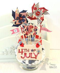 4th of July Candy Jar Centerpiece by Melissa Sauls #Patriotic. #4thofJuly, #HomDecor
