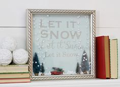 Let it Snow Shadow Box Snow Globe 2 Little Christmas, All Things Christmas, Holiday Fun, Christmas Holidays, Christmas Crafs, Christmas Ideas, Christmas Decorations, Diy Christmas Shadow Box, Christmas Crafts For Gifts
