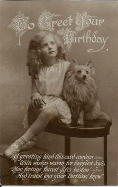 POMERANIAN SPITZ & YOUNG GIRL REAL PHOTOGRAPHIC DOG POSTCARD