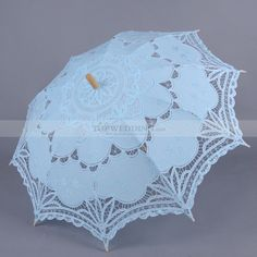 Aqua Blue Embroidered Cotton Wedding Umbrella