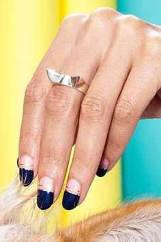 21 Pics That Show Why Rescue Dogs Rule #refinery29  http://www.refinery29.com/cute-dog-pictures#slide-9  Called Mix Tape, this design takes its cues from one of spring's biggest nail trends, the negative-space manicure. To start, grab a navy polish like Zoya's Sailor and paint the top half of the nail only. If your line is a little messy, Kurita says to use a dry, angled brush dipped i...