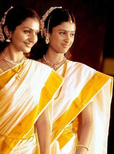 The traditional Kerala sari or mundum neryathum is worn as everyday costume and also as distinct costume on festive occasions, in which case the border is ornamental in couture. The sari for festive occasion has golden colored borders or a broad zari border known as Kasavu, The kasavu or the golden border is either pure golden layer, copper coated or artificial. The fabric of mundu-sari is cotton and is always woven by hand.
