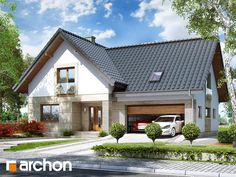 Dom w miłowonkach Bungalow House Design, Modern House Design, Dream House Plans, Modern House Plans, Future House, My House, Bungalow Extensions, Cottage Renovation, Modern Ranch