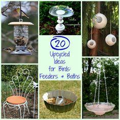 20 Upcycled Bird Feeders & Baths