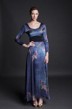 Jennifer Rothwell Leather and Silk Kells Space Mythology Dress Irish Fashion, 21st Century, Mythology, Blues, Fall Winter, Fashion Outfits, Space, Clothing, Leather
