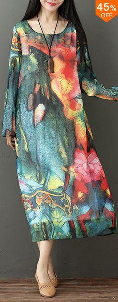 b0ca8d42a4a Women Long Sleeve O-Neck Printed Elegant Dress. Elegant