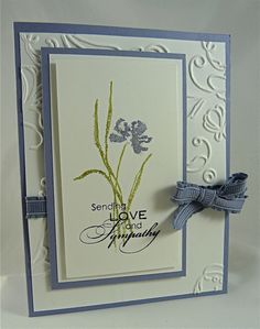 Paper: Wisteria Wonder card stock Stamp sets: Love & Sympathy Accessories: Wisteria Wonder ribbon, Elegant Lines embossing folder, Dazzling Diamonds Making Greeting Cards, Greeting Cards Handmade, Making Cards, Scrapbooking, Scrapbook Cards, Embossed Cards, Beautiful Handmade Cards, Stamping Up Cards, Cool Cards
