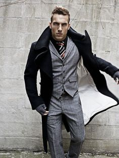 Love this vest coat & gloves combo-IDK who this lovely man is, but he has something very....Christian Grey about him. And I want it.