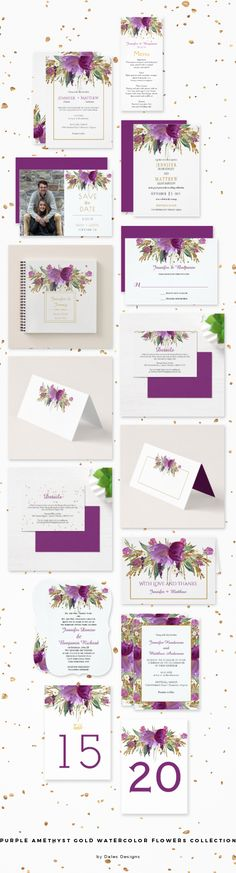 Purple Amethyst Gold Watercolor Flowers Collection by Dales Designs (affiliate link) - Purple wildflowers with a hint of gold sparkle. #wedding #purple #amethyst #gold #flowers #floral #watercolor #savethedate #invitations #tablenumber #guestbook #thankyoucard #menucard #rsvp #weddinginvites #weddingcollection #zazzle #dalesdesigns