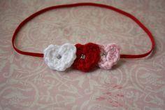 Valentine Triple Crochet Heart Skinny Elastic от SweetpeasAlley, $6.00