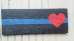 Thin blue line rustic sign by FairlyOddArt on Etsy