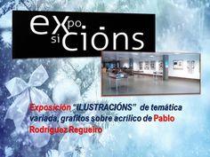 """""""Ilustracións"""" de Pablo Rodríguez Regueiro, na entrada da Biblioteca."""