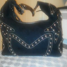 BEAUTIFUL PRITZI HANDBAG Durable and nice suade exteriors Lining is made of satin. Black covered in gold steel beads Very nice for any occasion Strong straps,  no flaws Bags Satchels