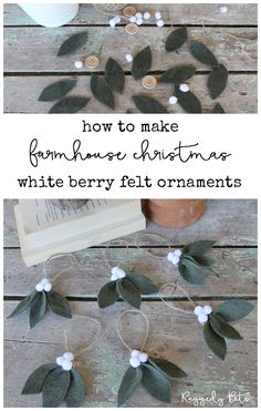 Diy christmas ornaments - How To Make Farmhouse White Berry Ornaments – Diy christmas ornaments Felt Christmas Decorations, Felt Christmas Ornaments, Noel Christmas, Winter Christmas, Diy Ornaments, Beaded Ornaments, Minimal Christmas, Glass Ornaments, Chritmas Diy