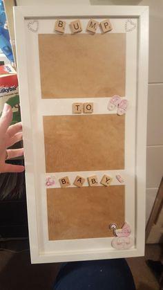 New Baby Onesies Diy Buttons 37 Ideas Scrabble Tile Crafts, Scrabble Frame, Scrabble Art, 3d Box Frames, Frames Ideas, Baby Frame, Diy Buttons, Baby Keepsake, Frame Crafts