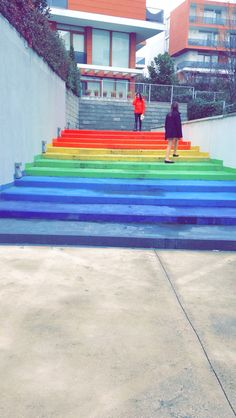 Rainbow stairs!
