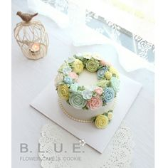 #flowercake #buttercreamcake #플라워케익 #플라워케이크 #블루케이크