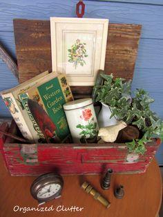 Covered Patio Vintage Summer Rustic Crate Vignette www.organizedclutterqueen.blogspot.com