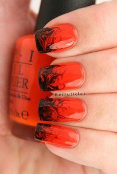 Red and Black Halloween Nail Design. Halloween Nail Art Ideas.