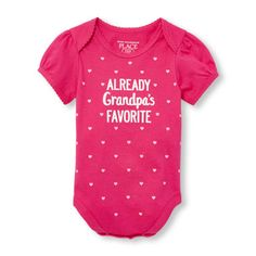 Baby Girls Short Sleeve 'Already Grandpa's Favorite' Heart Print Little Talker Bodysuit