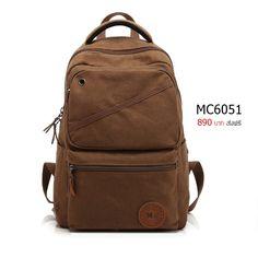 กระเป๋าเป้สะพายหลัง ผ้าแคนวาส รุ่น A6MC6051BN - สีน้ำตาล