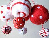 Felted 4 Ornaments Polka Dots