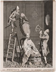 Satirist's engraving from the 1770's, showing a hairdresser mounting a ladder to get at the hair of a lady with an enormous coiffure, while another man holds a sextant to measure the distance.