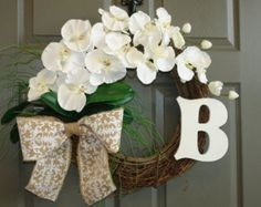 spring wreaths monogram, personalized summer wreaths white orchids wreaths for front storm door phalaenopsis burlap bow